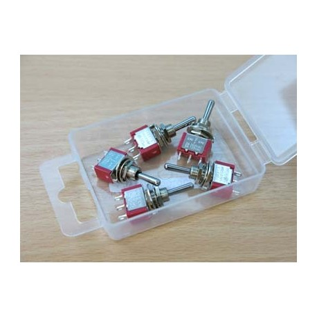 image: SPDT Miniature Biased Switch - 3 Positions - On/Off/On - 5pcs