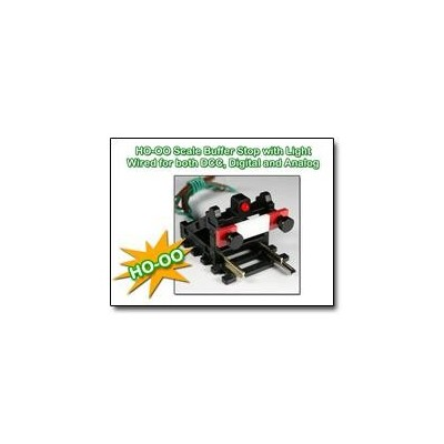 image: HO/OO Buffer Stop wired with Light for DC/DCC - Black