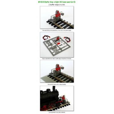 image: HO Laser Cut Buffer Stop Kit with Light - Pack 2