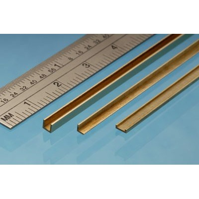 image: 1mm x 2.5mm x 1mm x 305mm Brass C Channel - 1 Piece