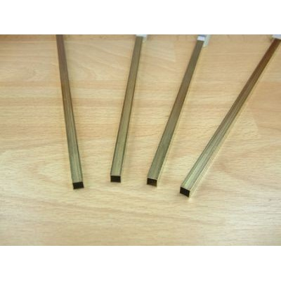 image: 2.4mm x 2.4mm x 305mm Square Brass Tube - 3 Pieces