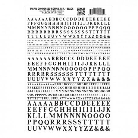 image: Dry Transfer Alphabet & Numbers - Condensed Railroad Roman - Black