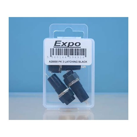 Latching Switches - Black Button - Pack 3