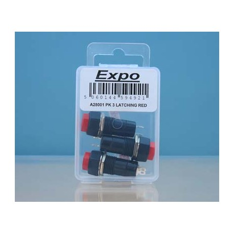 Latching Switches - Red Button - Pack 3