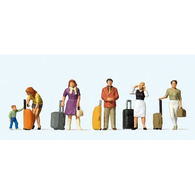 Standing Travellers with Wheeled Suitcases