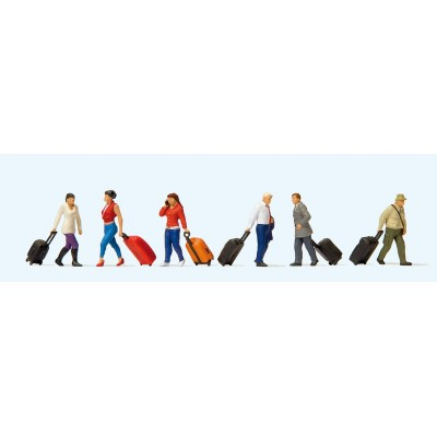 Walking Travellers with Wheeled Suitcases