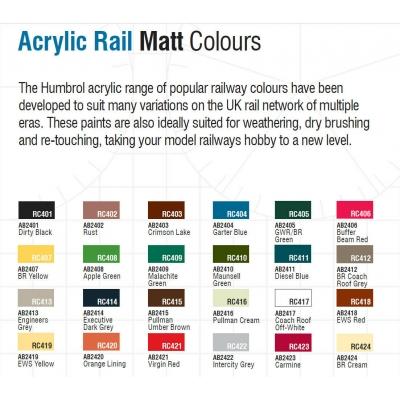 Humbrol Acrylic Matt Rail Colours - Various - 14ml Pots